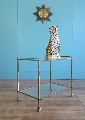 Vintage French gold drinks trolley - SOLD